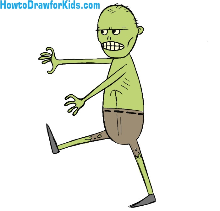 How To Draw A Zombie For Kids