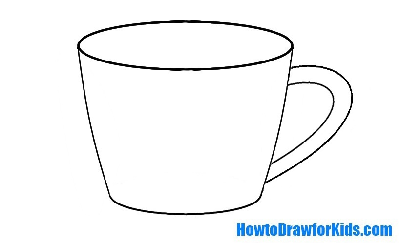 How To Draw A Cup For Kids on Cartoon Coffee
