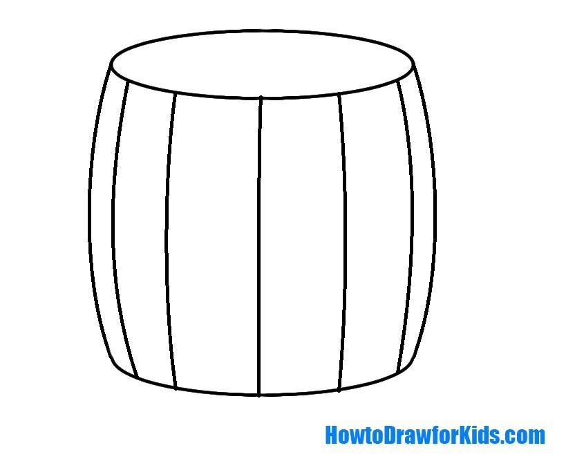 learn to draw a barrel for kids