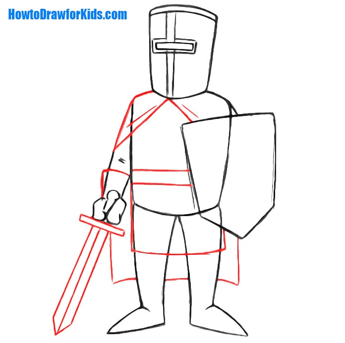 learn to draw a crusader for kids