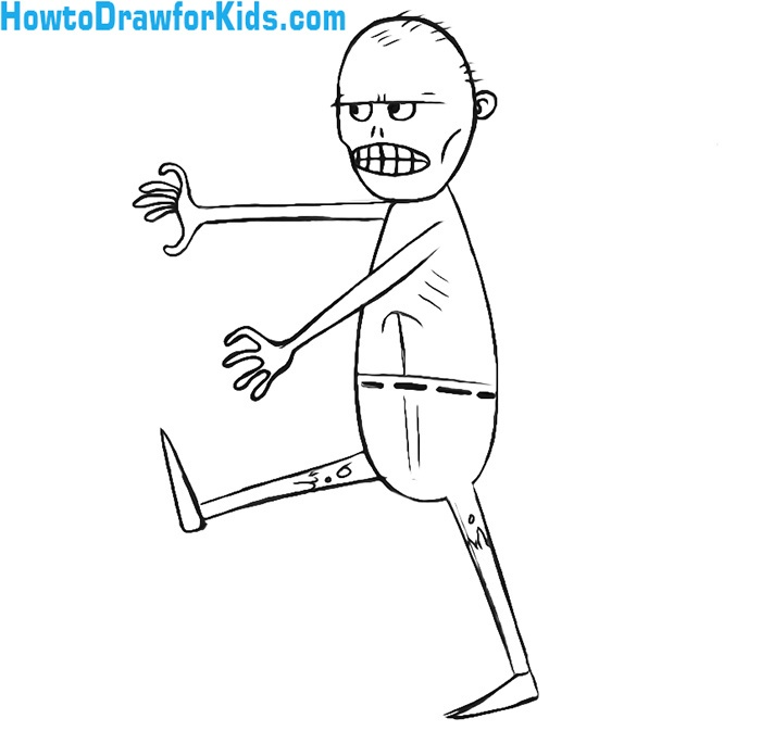 how to draw a zombie for kids drawing