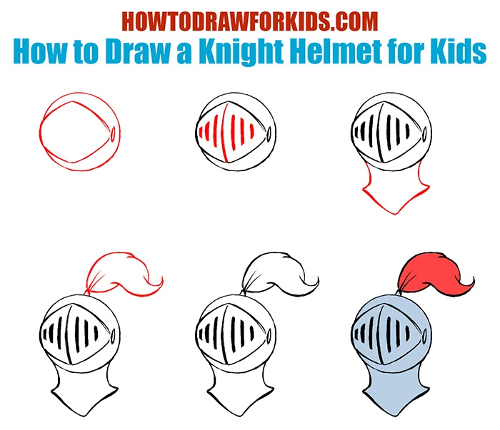 How To Draw A Knight Helmet For Kids