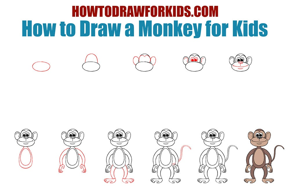 How to Draw a Monkey for Kids | How to Draw for Kids