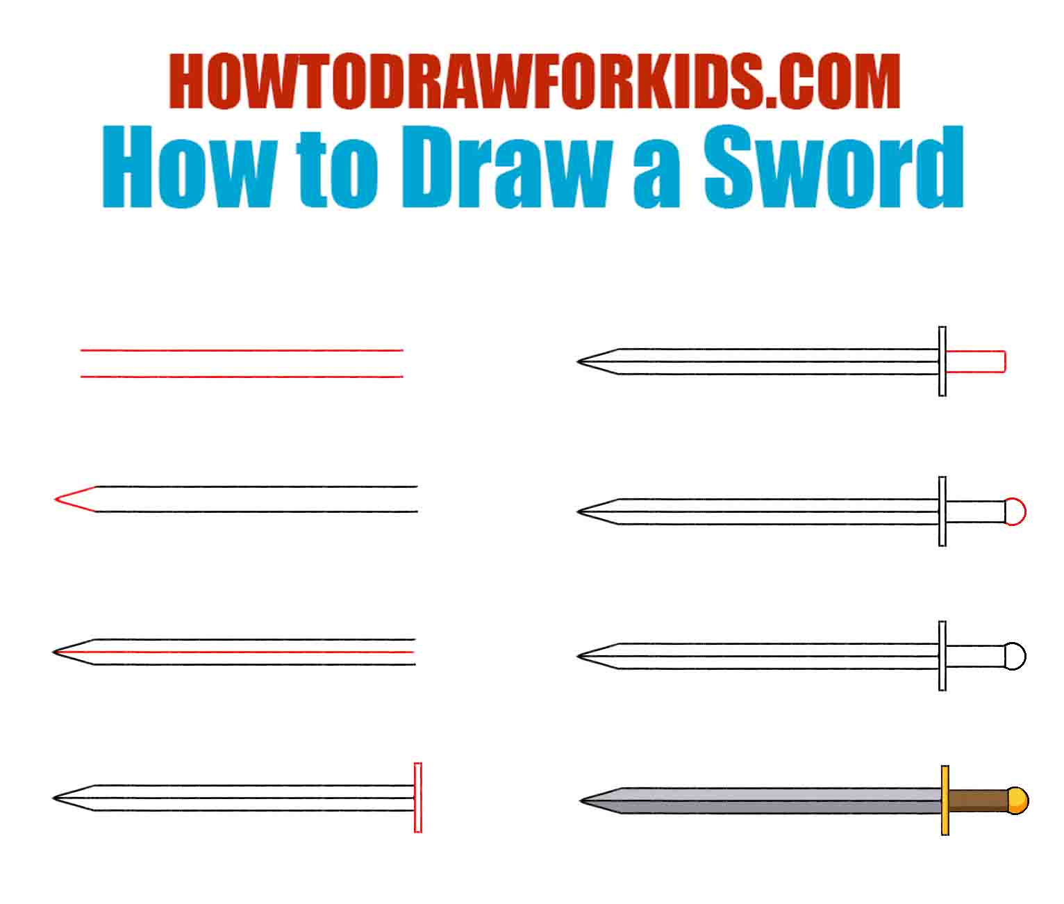 How to Draw a Sword for Kids
