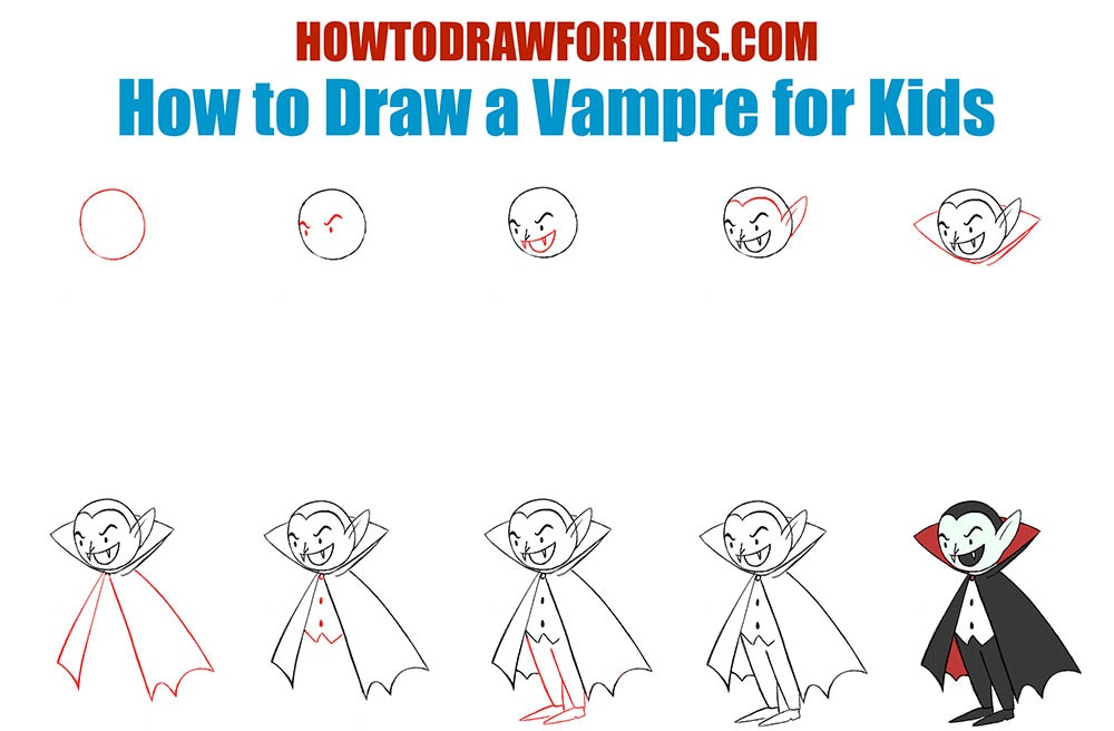 How to Draw a Vampre for kids step by step