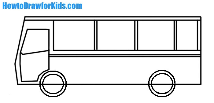 how to draw a bus for children
