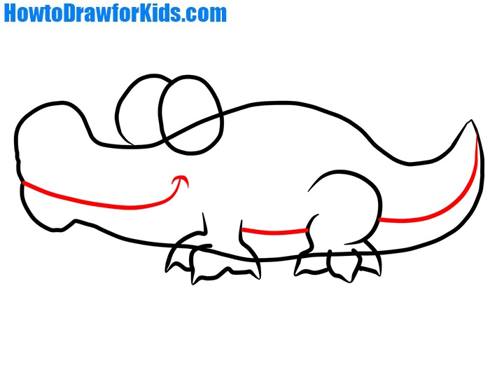 how to draw a crocodile for kids step by step