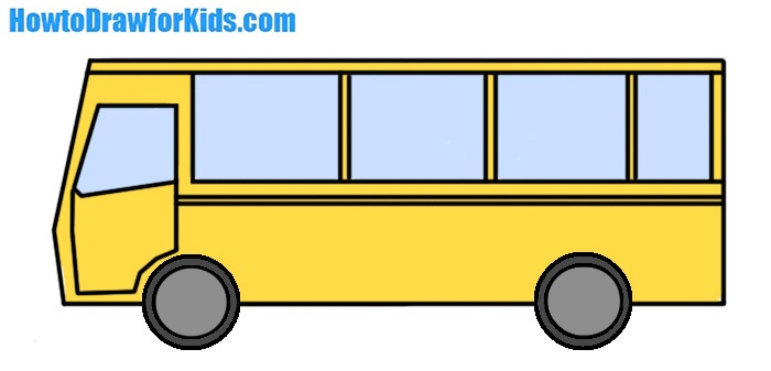 how to draw a bus for kids