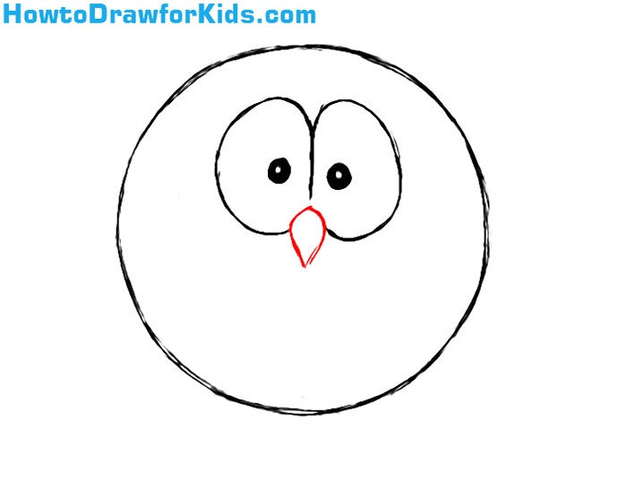 How to draw an owl for kids howtodrawforkids for Owl beak drawing