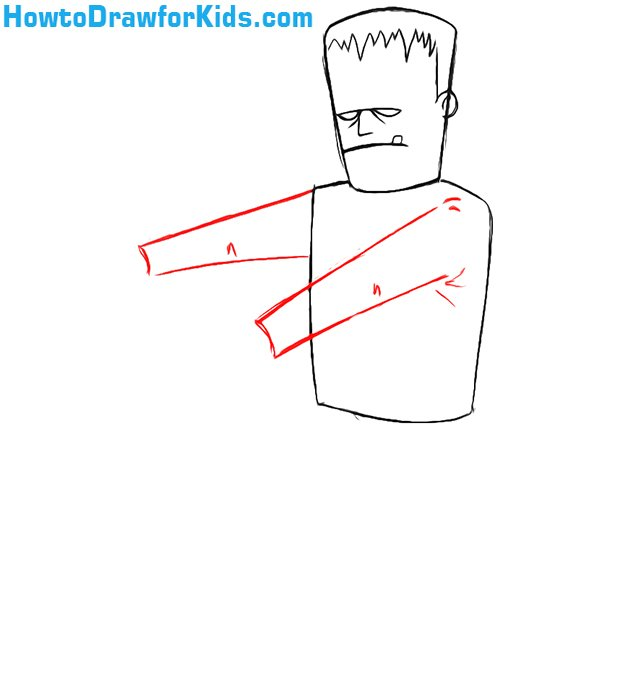 how to draw Frankenstein step by step