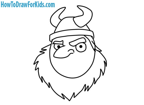 learn how to draw a Viking Head for kids