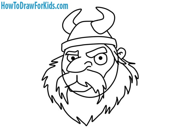 learn to draw a Viking Head easy