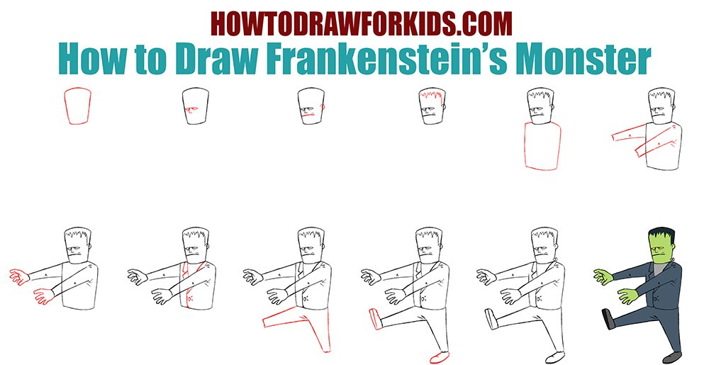 How to Draw Frankenstein's Monster for kids