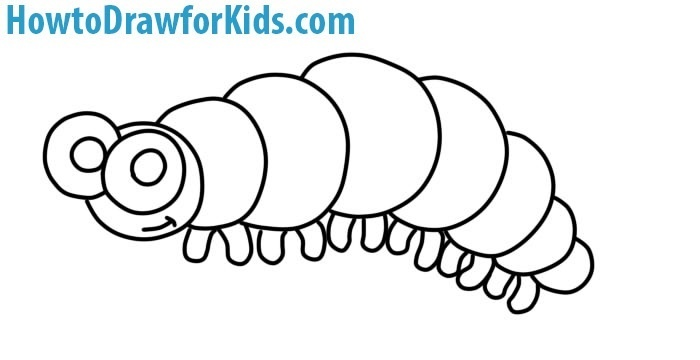 learn to draw a caterpillar for kids