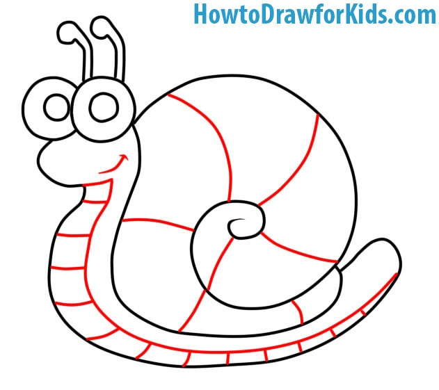 how to draw a Snail step by step