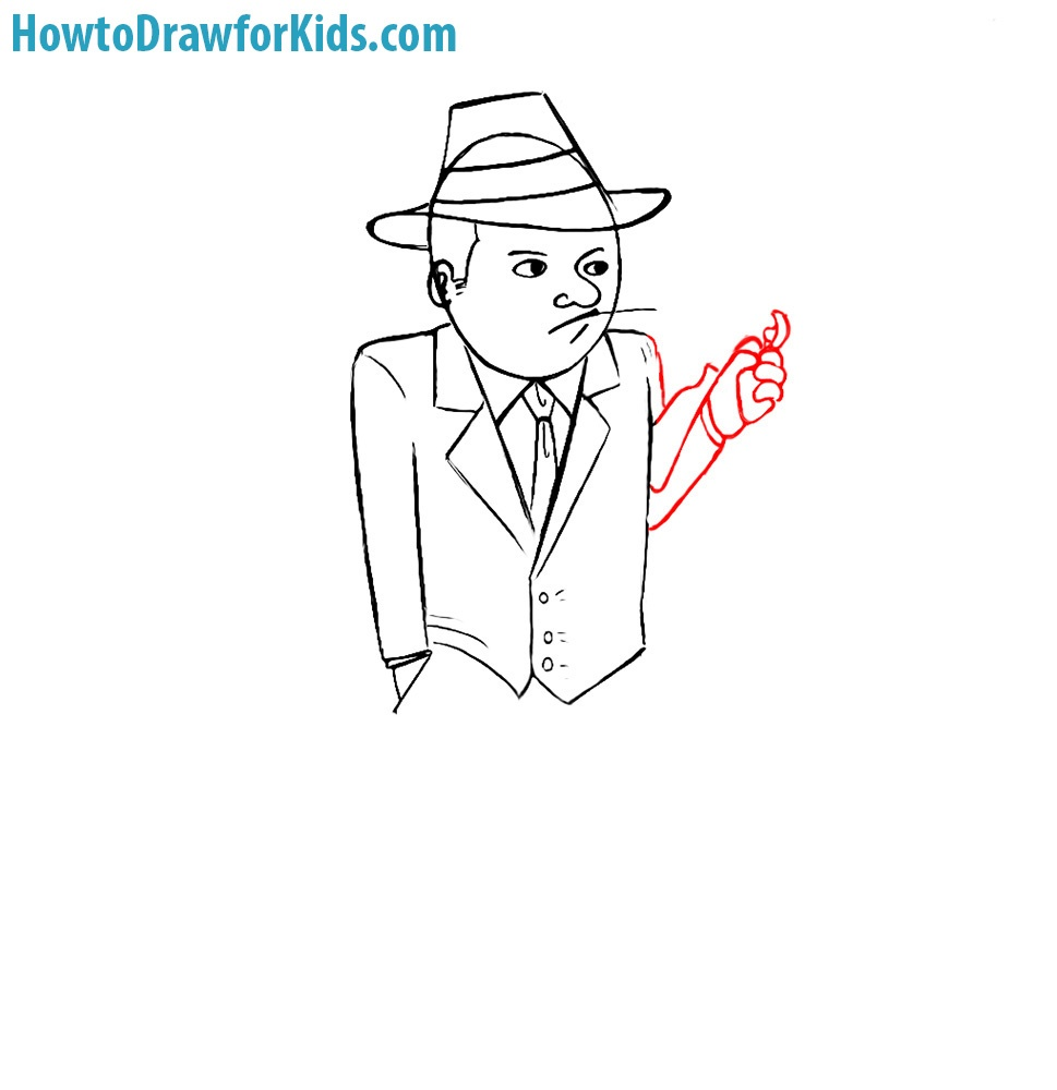 how to draw a gangster with a pencil