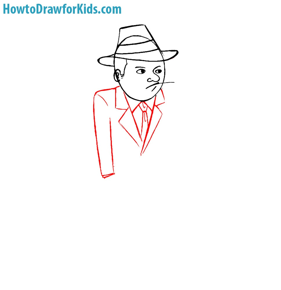 how to draw a gangster for kids