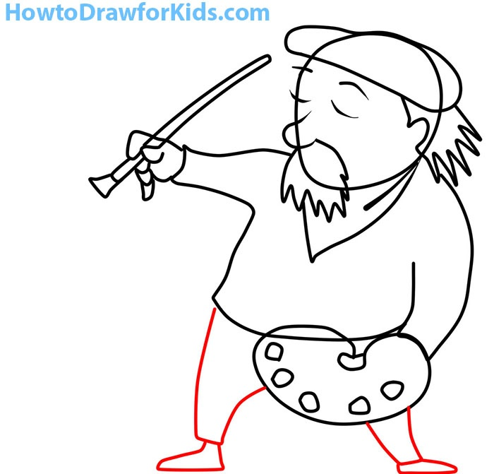 how to draw an artist step by step for kids