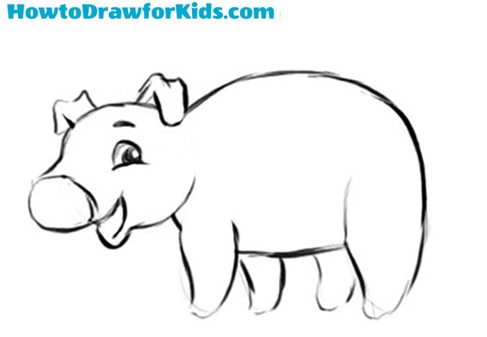 How to sketch a pig for kids