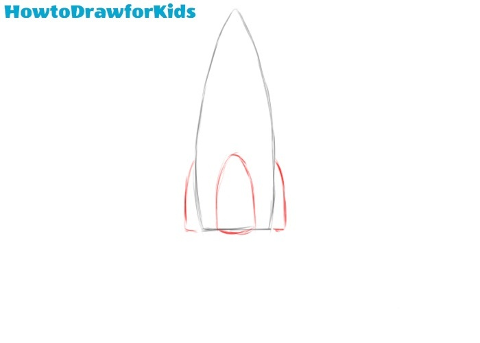 How to draw a rocket step by step