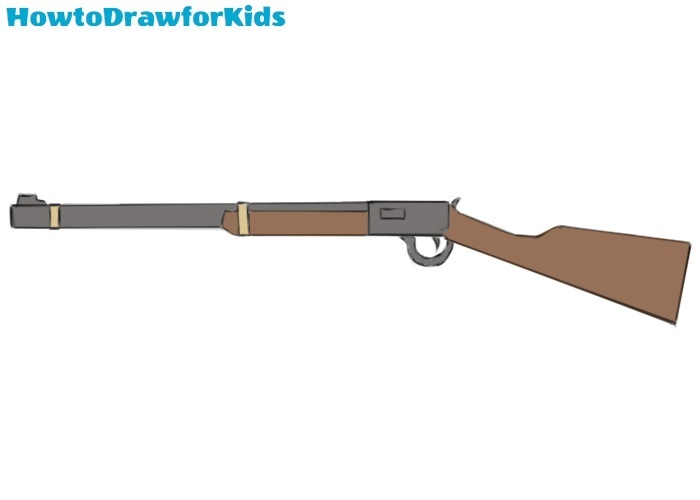 How to draw a rifle for kids