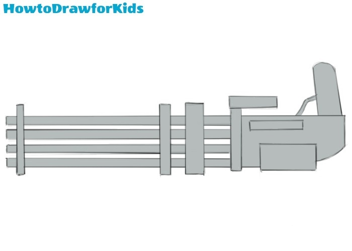 How to draw a minigun for kids