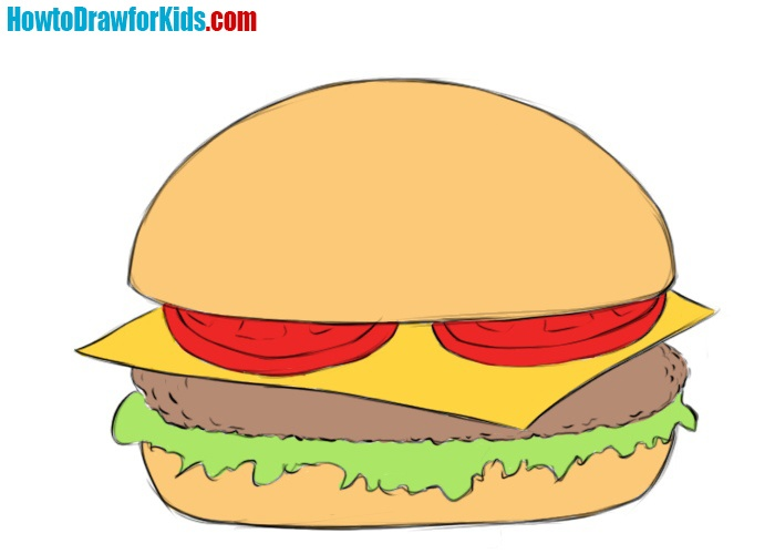 Burger drawing tutorial