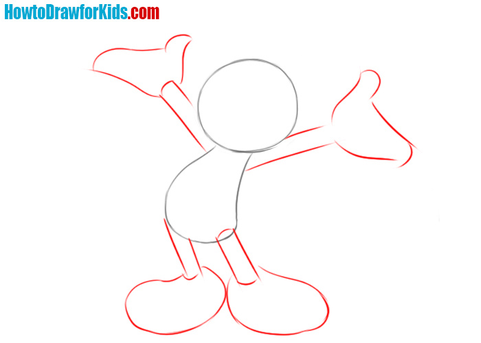 How to draw Mickey Mouse step by step easy