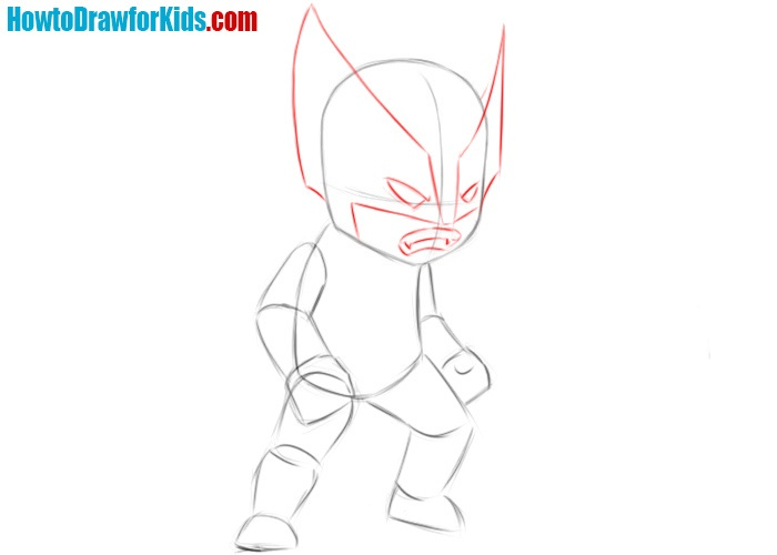 How to draw Wolverine for kids easy