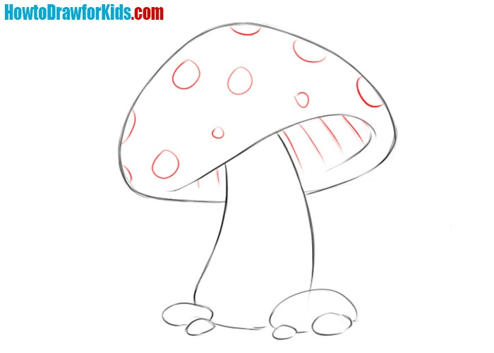 How to draw a mushroom for beginners