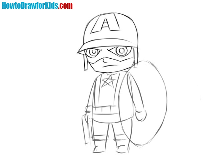 How to draw Captain America easy
