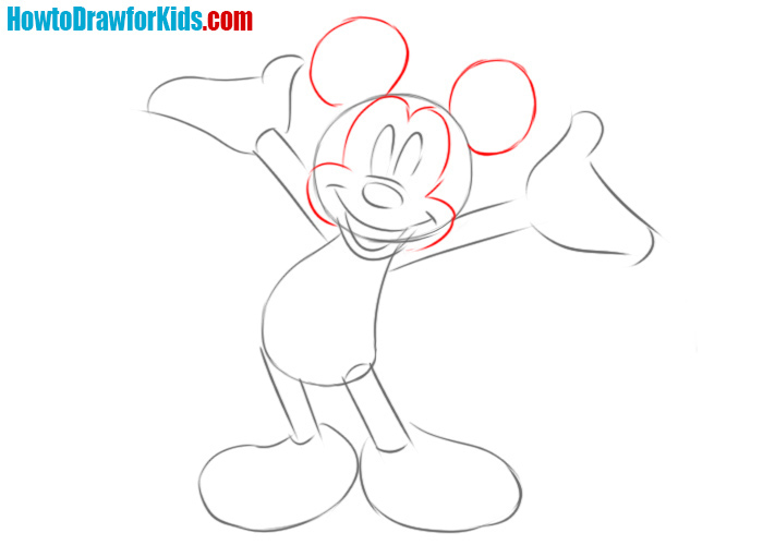 How to draw Mickey Mouse head