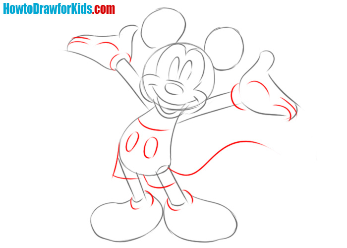 How to draw Mickey Mouse body