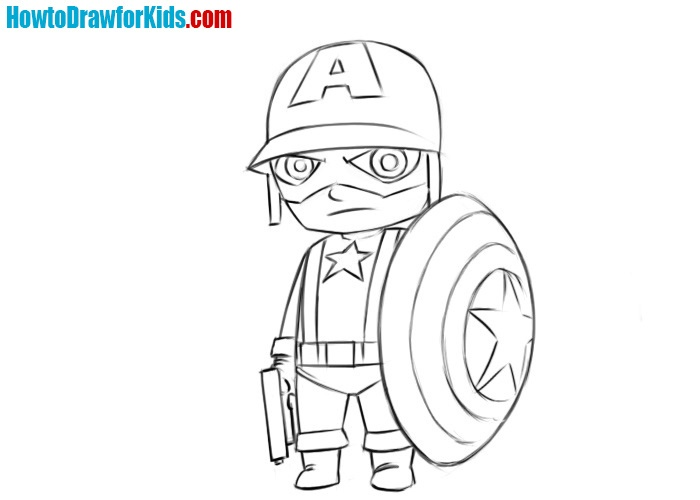 How to draw Captain America for kids