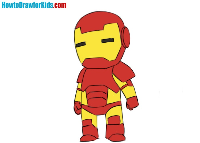 How to draw Iron Man for kids