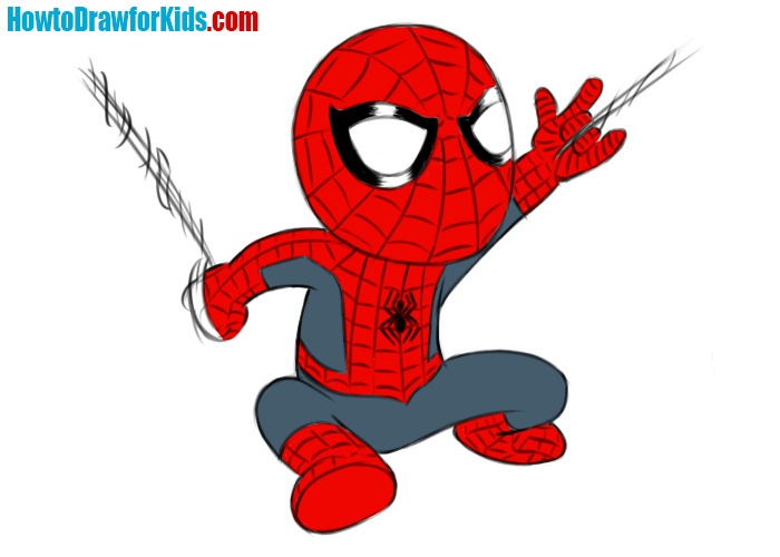 How to draw Spider-Man for kids easy