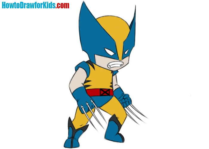 How to draw Wolverine for kids
