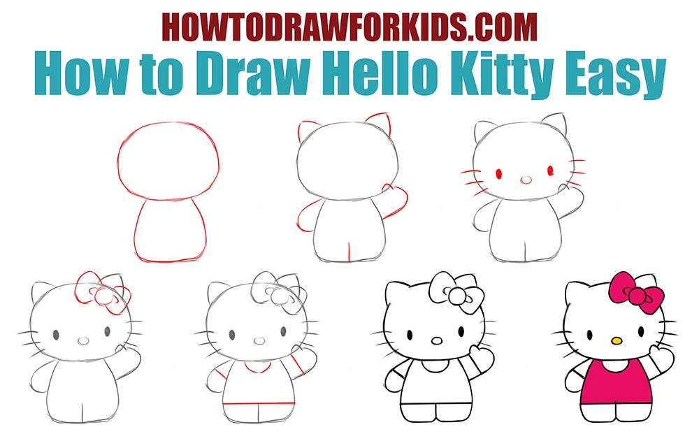 How to draw Hello Kitty easy