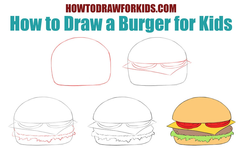 How to draw a burger for kids step by step