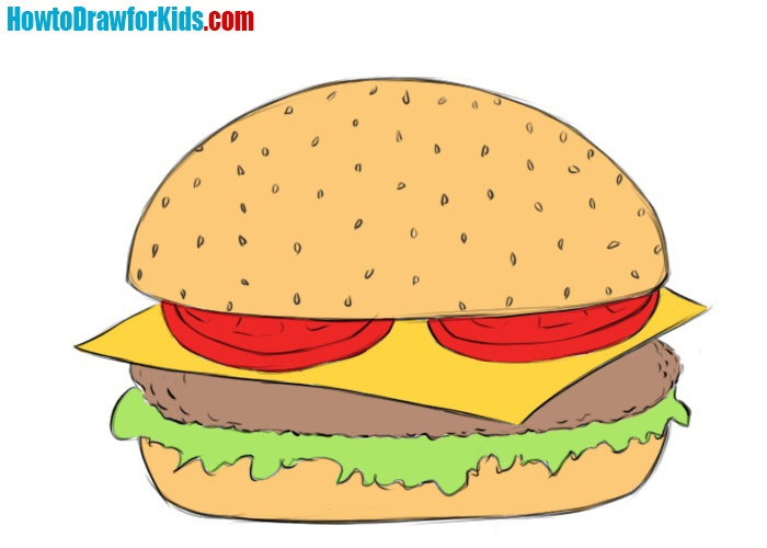 How to draw a hamburger for kids